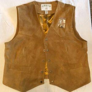 Orvis Sporting Leather Vest Forging Fishing NWOT